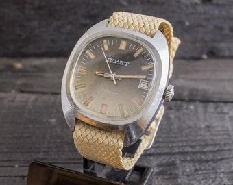 Vintage Poljot mens watch with date window, vintage russian wrist watch, soviet mechanical watch, vintage mens watch, ussr cccp