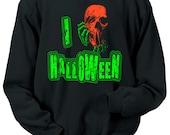 I Love Halloween Crewneck Sweatshirt Scary Skeleton Zombies Horror Neon Skull Florescent Geek Geekery Mens Womens S-2XL Great Gift Idea