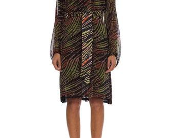 Vintage 1960s Tribal Printed Silk Chiffon Long Sleeve Midi Dress  Size: XS/S