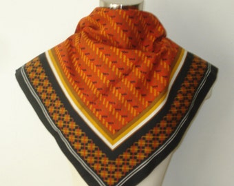 Vintage Boselli Orange and  Black Scarf - Patterned Square Scarves - Womens Hair Accessories 1970s
