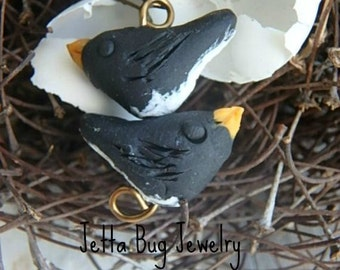 Thumbnail Snow Bird- 2 polymer clay charm. Junco snow bird beads. tiny pair. rustic woodland. realistic bird jewelry bead. Jettabugjewelry