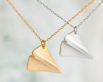 Paper Airplane Necklace, Gold / Silver, Origami Aeroplane Inspired, Whimsical Jewelry, ej