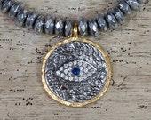 Evil Eye Charm, Evil Eye Jewelry, Hematite Bracelet, Charm Bracelet, Stack Bracelet, Stretch Bracelet, Beaded Bracelet, Tribal Bracelet