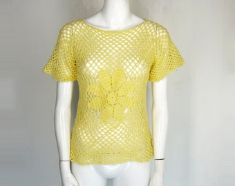 90s Crochet Yellow Daisy Floral Top Mesh Girly Cute