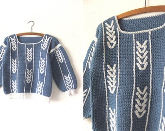 Little Arrows Hand Knit Vintage Sweater - Boxy fit Slate Blue Nordic Style Cropped Jumper - Womens Small