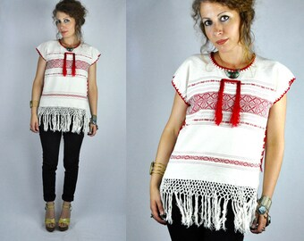 Fringed Embroidered Mexican Oaxacan Blouse Tunic Cotton Crochet Details Boho Summer Fiesta Mexicana Hippie Ethnic Gypsy Tribal size XS - S