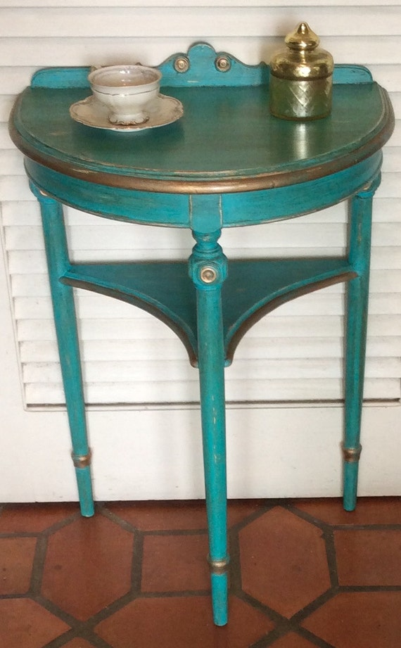 Green Foyer Table : Sold turquoise green hall foyer table