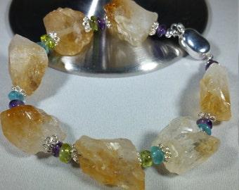Citrine, Semi Precious Gemstones and Sterling Silver Bracelet