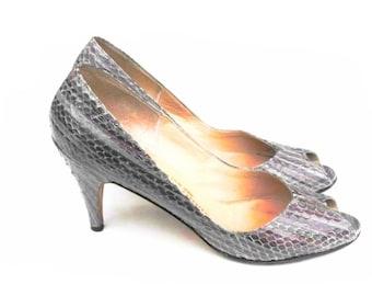 1950s Cleopatra's Amethyst Stilettos Vintage Genuine Reptile Asp Snakeskin High Heels Purple Python Pumps Egyptian Empress Shoes Size 8 AAAA