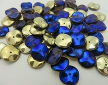SALE ITEM !!!Cobalt and Gold  California Blue Ripple Beads wavy Disks   AMAZING Shimmer  12mm round Ripple  ( 12 beads  )