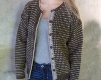 Vintage 70s Wool Cardigan Sweater, woolrich, women's winter boho clothing