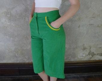 Women's Vintage Gauchos, 1970's Kelly Green Gaucho Pants