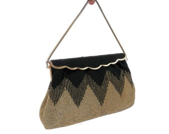 Black & Gold Chevron Beaded Bag by Josef Hand Beaded in France