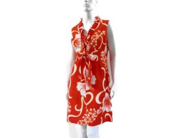 Orange Barkcloth Hawaii Dress by Karen Ann New Vintage