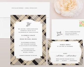 Plaid Wedding Invitation & RSVP Set - Scottish Wedding Invitation, Celtic Wedding Invitation, Wedding Invitations, Wedding Invites
