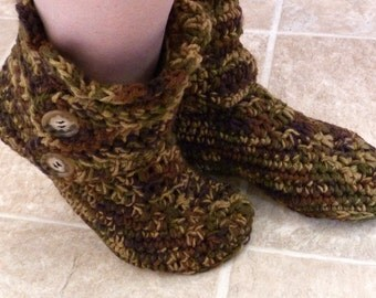 Crochet Women's Slipper Boots Crocheted Slippers Crochet Boots Booties House Slippers Bedroom Slippers Indoor Slippers Childs Mens