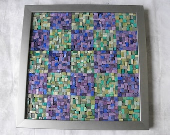 Glass Mosaic Art ~ Handmade  Italian Smalti Glass Mosaic Wall Hanging - Purple and Green Mosaic Art by ElleBelleArt