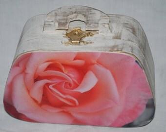 pink rose mini wooden photo box purse