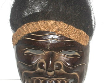 Tribal Mask With Hair, Wall Mask, Sand Mask, Tribal Mask, African Art, Carved Mask, Antique Alchemy