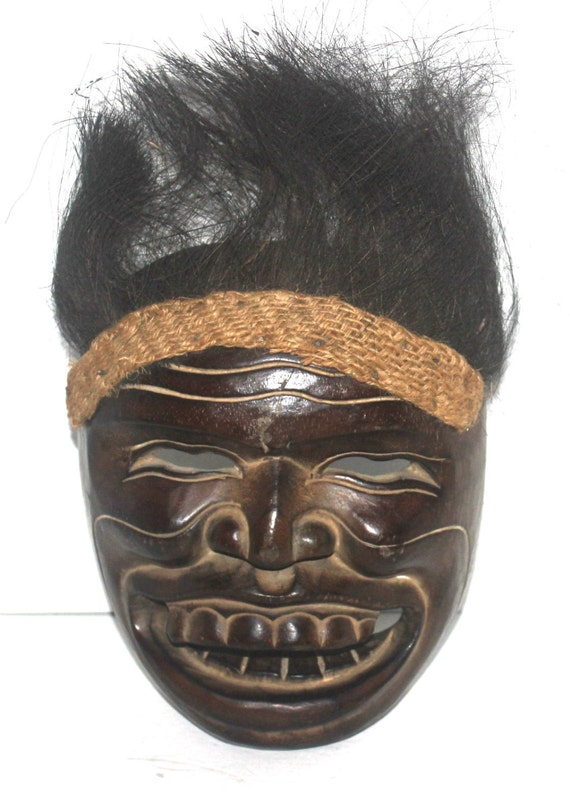 Tribal Mask With Hair Wall Mask Sand Mask Tribal Mask