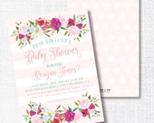 WATERCOLOR SPRING FLORAL shower invitation baby shower bridal wedding shower luncheon tea sprinkle blush pink polka dots stripes