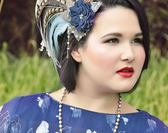 Many shades of Blue Navy & Pheasant Feather Fascinator