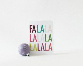 Christmas Card, Fa La La Holiday Card, Modern Christmas Card, Holiday Greeting Card, Minimalist Seasonal Card