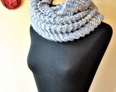 oversized chunky knit infinity scarf/shawl in light blue soft wool, wide and long, warm and elegant, for women and girls