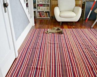Vintage Striped Rug. Kelim Kilim Turkish Rug.  Large Dhurrie Wool Rug.  Bohemian Tribal Rug. Ethnic  Rug. 8 x 8. | The Curious Moose