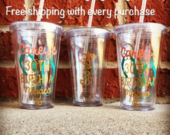 Flip Flop Beach Tumbler, Birthday Tumbler, 30th Birthday Cup, 30th Birthday Tumbler, Personalized Tumbler, Custom Tumbler, Beach Cup