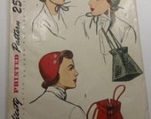 Antique Simplicity Pattern 2963  Set of Hats  and a Purse One Size