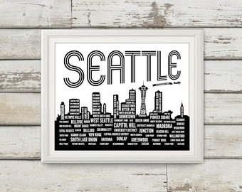 Seattle, Seattle Neighborhoods, Seattle Skyline, Seattle Washington, Seattle Art, Seattle Print, Seattle Poster, Seattle Typography