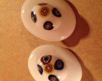 Vintage White Glass Bead Pierced Earrings