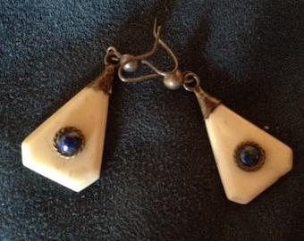 Sale - Handmade Vintage Lapis Bone & Silver Earrings