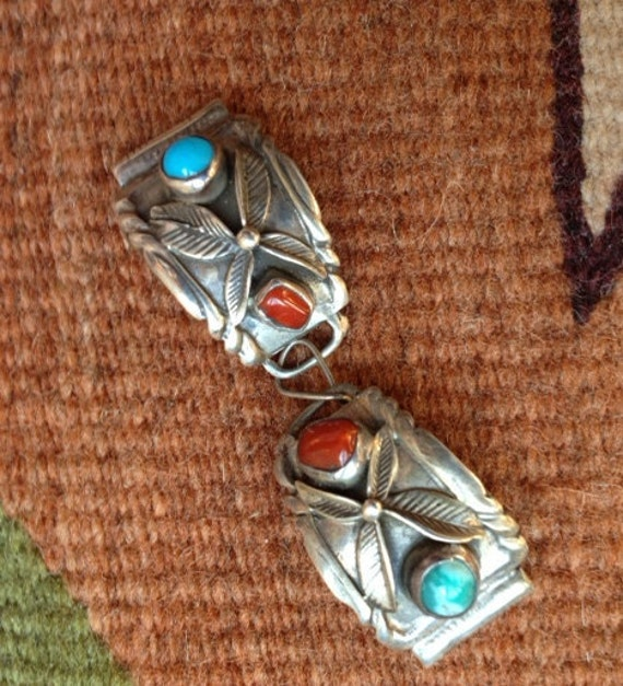 Sterling Silver Handmade Coral & Turquoise Native American Vintage Watchband Links