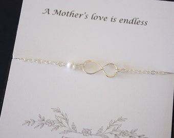 Mother Bracelet, Infinity Eternity Jewelry, Mom Gift, Bridesmaid Thank You Card, White Pearl, Silver