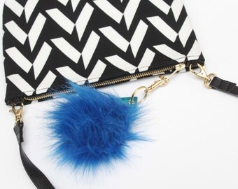 SALE/ Blue faux fur pom pom - key charm - pom pom key ring and swivel hook - gifts for her -bag charm   - Choose your color - Ready to Ship