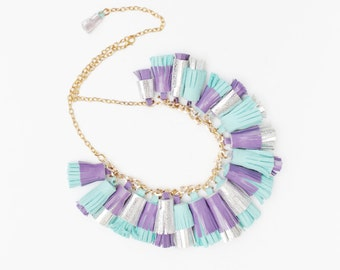 BOUQUET 28 / Mixed color natural leather tassel statement everyday necklace in bright colors - Ready to Ship