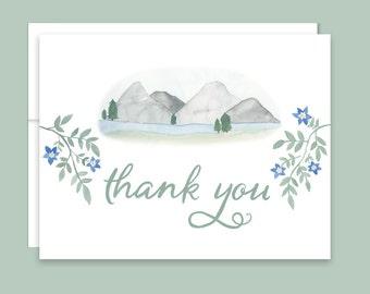 Mountain Thank You Notes, Mountain Wedding Thank You Cards, Watercolor Mountain Thank You, Rustic Wedding, Colorado Wedding Thank You Notes