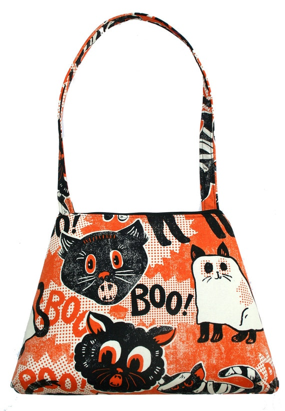 Boo Cats, Halloween, orange and black, retro style, tall Retro