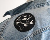Orca Cat Sew on patch - Sew on patch - Screen printed patch - I like cats - Cats - WCA - The World Cetacean Alliance - Charity Patch