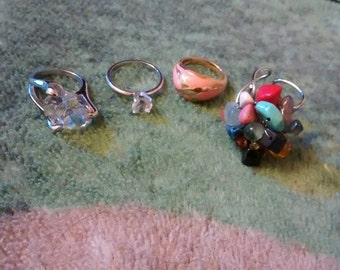 Gorgeous Costume Ring Lot Of Vintage Beauties