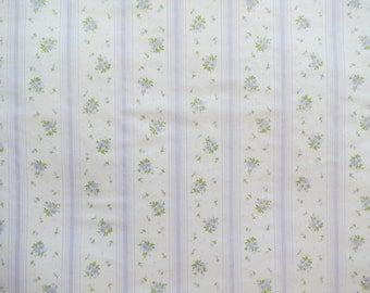 Half Yard of Vintage Sheet Fabric - Pale Purple Rose Stripe