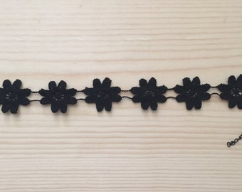 Black Floral Embroidered Choker