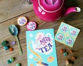 3 illustrated cards for tea lovers, all you need is tea cards with envelopes
