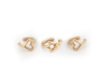 Ear Cuffs Minimalist Gold Ear Cuff - Ear Cuff Set Of 3 - Simple No Piercing Gold Ear Cuffs - Gifts For Her