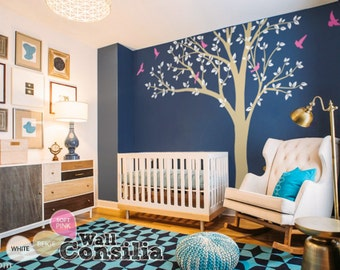 """Photo Tree Wall Decal Mural Large Tree Wall Decals Frame Hanging Tree Wall Sticker - White Tree decal - Large: approx 93"""" x 100"""" - KC018"""