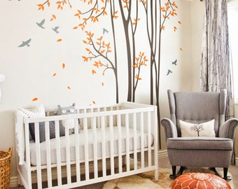 """Tree Wall Decals Baby Nursery Birch Tree Decal Sticker Long Skinny Trees Wall Art Tree Wall Decal Vinyl Mural -Large: approx 95"""" x 89"""" KC047"""