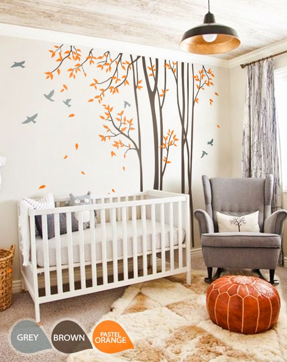 Tree wall decals baby nursery birch tree decal sticker long for Baby room tree mural