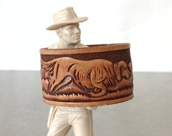 Leather Cuff Bracelet - Hunting Outdoorsman Tooled Leather Cuff - Size Small